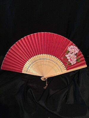 "Chinese Hand Painted Bamboo Wood & Paper Folding HAND FAN- 15"" RED"
