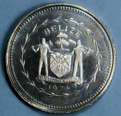 Belize 10 Cents 1974 Proof 0.9250 Silver Coin