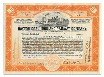 Dayton Coal, Iron and Railway Company Stock Certificate