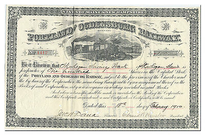 Portland and Ogdensburg Railway Stock Certificate