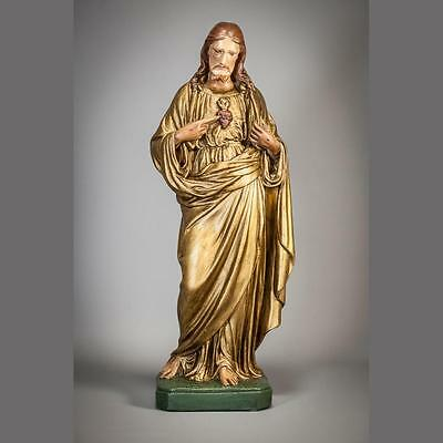 """21"""" Large Sacred Heart of Jesus Antique Plaster Statue Christ Our Lord Figurine"""