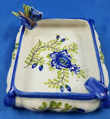 Blue Butterfly/floral Ashtray