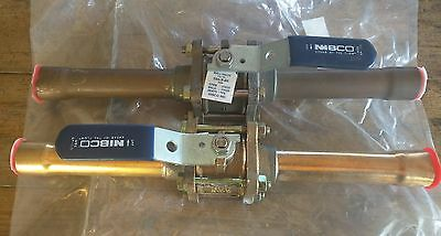 "Lot Of 2 1"" Nibco Ball Valve  595-Y-66 With 5"" Copper Tube On Each Side Bell End"