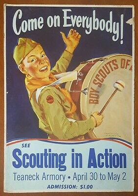 Boy Scouts Scouting in Action Poster 1950 Teaneck Armory NJ