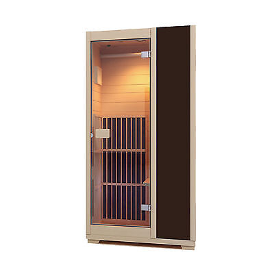 Infrared Sauna Zen Brighton 1 Person Sauna Cabin Carbon Heater  - Brown