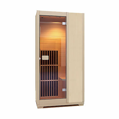 Infrared Sauna Zen Brighton 1 Person Sauna Cabin Carbon Heater  - Natural