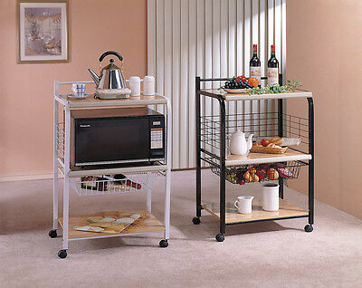 Rolling Microwave Serving Cart with Basket Drawer