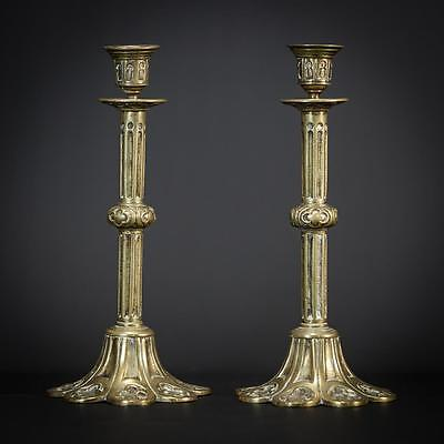 Antique Pair of Gothic Bronze Candlesticks Brass Church Candle Holders 2