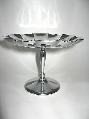 """Vintage Krome-Kraft Footed Pedestal Candy Dish Farber Brothers NY 4"""" Tall"""