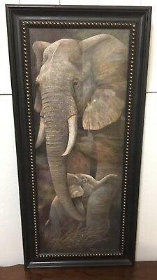 Protective Care by Ruane Manning Animal Elephant Africa Framed Print 12x24