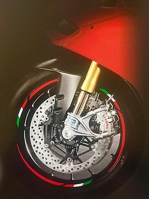 Ducati Streetfighter Motorcycle Wheel Rim Stickers Trim Italian Flag Red Vinyl