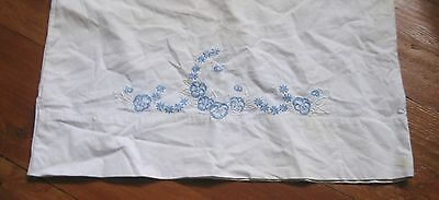 1 PALE BLUE PANSIES + WHITE embroidered PILLOWCASE-used, but very good