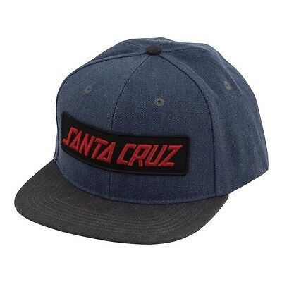 Santa Cruz BLOCK STRIP Adjustable Snapback Skateboard Hat NAVY/CHARCOAL