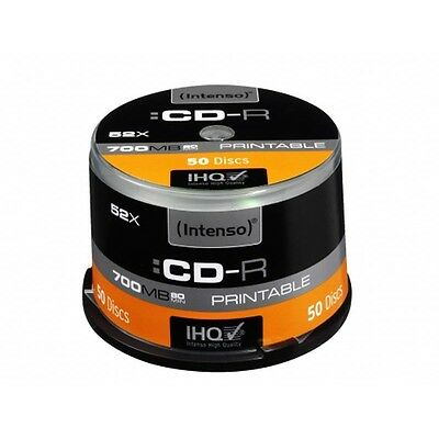 Pack de 50 CD-R imprimables Intenso 700MB/80min 52x Speed - Cake Box - Neuf