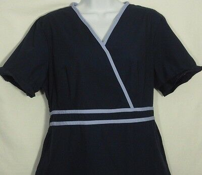 BH Medical Nurse Scrub Women Top Shirt Navy Blue Pink Size Large