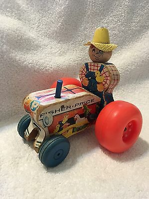 Vintage Fisher Price Mighty Tractor Farmer Pull Toy, #629, 1961