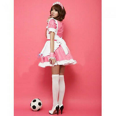 Cosplay French Housekeeper Pink Maid Outfit Waitress Fancy Dress Ruffle Costume