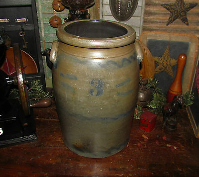 Primitive Original Antique Vtg Cobalt Blue 3 Gal. Salt Glazed Butter Churn Crock