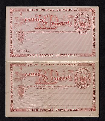Dominican Republic ~1900 UPU Postal Reply Card 3¢ Intact Unused