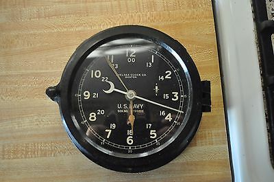 "Vtg 1940-1944 WWII  Chelsea Boston U.S Navy Military Ship Deck Clock 8"" Dial"