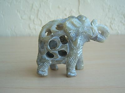 """Carved Stone Elephant With Baby Elephant Inside ~2 1/4"""" Tall ~Gray ~Vgc ~L@@k!"""