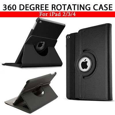 Leather 360 Degree Rotating Smart Case Cover For APPLE iPad 2 3 4   (B039