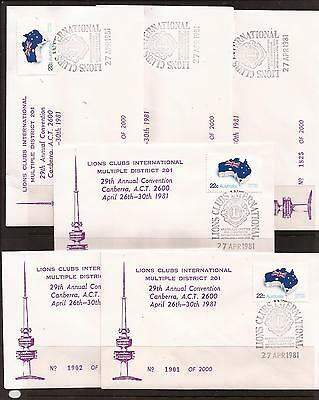 Australia, 1981 Lions Conv, 6 x limited edition covers