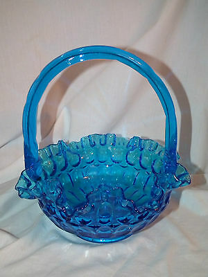 Vintage Fenton Colonial Blue Ruffled Thumbprint Basket 8 Inches