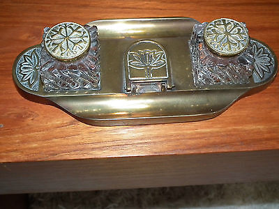 Antique Art Nouveau Brass Doulble Ink Well Holder With Glass Ink Wells