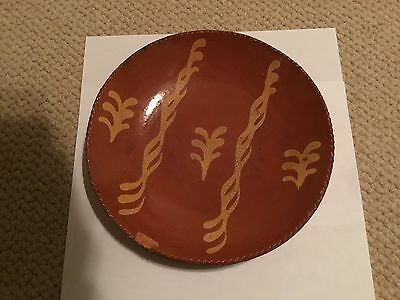 Antique Yellow Slip Decorated 9 Inch Redware Plate