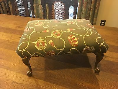 Vintage BRASS Footed Upholstered Footstool