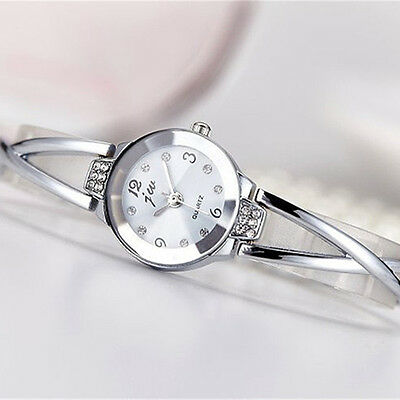 Fashion Women Crystal Stainless Steel Bracelet Bangle Analog Quartz Wrist Watch