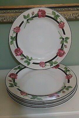 Tienshan dinner plates set of 4 roses with black stripe discontinued VGC