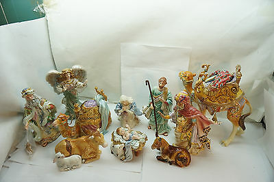 Fitz And Floyd Nativity Figurines Lot 8 Standing Sitting Camels Ox/sheep King