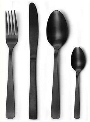 16pc MATTE Black Stainless Steel Cutlery Table Set Knives Fork Spoon RRP $180