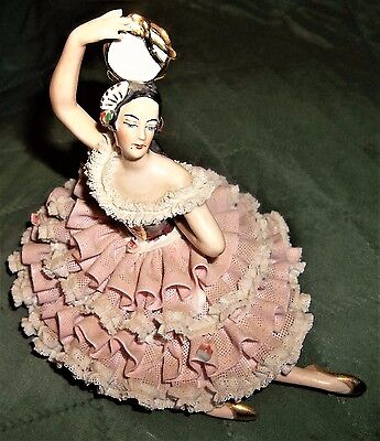 Vintage DRESDEN Seated Lace Pink 449A Porcelain Lady Ballerina Figurine Germany&
