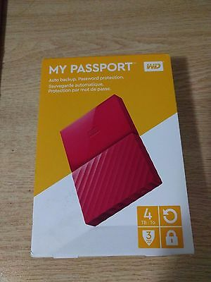 Western Digital WD 4TB My Passport Portable Hard Drive - Red