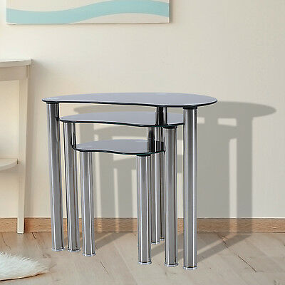 HOMCOM 3pc Glass Coffee End Side Nest of Tables Set Stainless Steel Living Room
