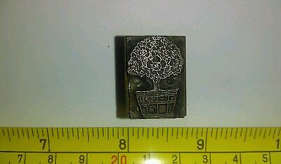 Vintage Letterpress Printing Block Plant in Planter Flowers Rare