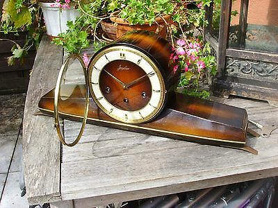 DEFECT JUNGHANS WESTMINSTER MANTLE MANTEL SHELF CLOCK kienzle era fifties