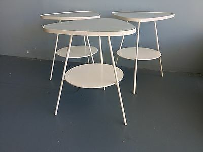 3 White Retro Style side tables