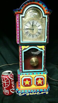 Hand Painted Circus Mantal Clock,carnival,amusement,game Room,man Cave,sideshow