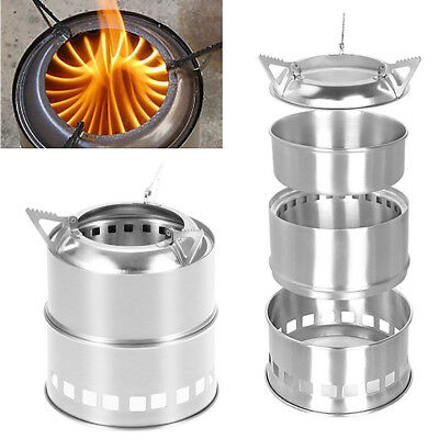 Portable Stainless Steel Outdoor Picnic Cooking Camping Wood Burning Stove New