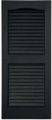Exterior Shutters Louvered Vinyl and Faux Wood Grain Detailing Black 2 Piece