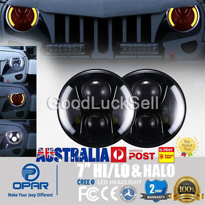 "7"" Inch 80W Round LED Headlight & Halo Angle Eye For Jeep Wrangler JK TJ 97-17"