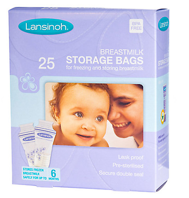 Lansinoh Pre-Sterilised Breastmilk Baby Breast Milk Storage Bags 1 Pack (25)