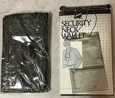 Black Leather Passport Security Neck Wallet  ++ Bonus: 2 Preowned Waist Safes ++
