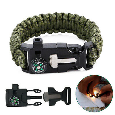 Outdoor Camping Hiking Paracord Bracelet Compass Flint Whistle Survival Tool Kit