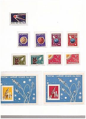 s14650) SPACE  - MNH** ALBANIA URSS  9v +S/S x 2 (1 S/S + 4v IMPERFORATED)
