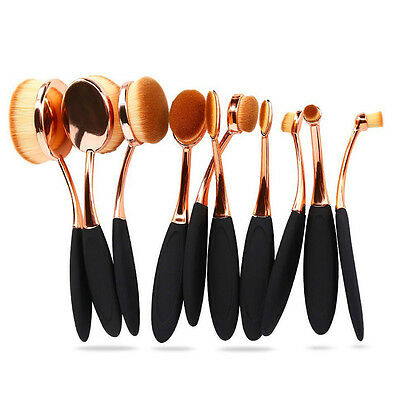 10PCS Oval Makeup Brush Set Foundation Eyeshadow Eyeliner Lip Cosmetic Brushes